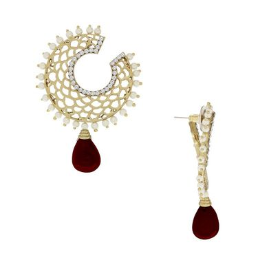 Spargz Drop Earring with Matt Finish_Aier203 - Red & White