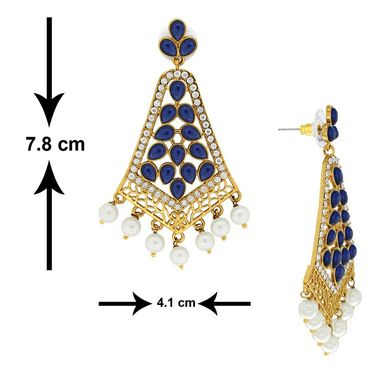Spargz Pearl Drop Blue Earring_Aier327 - Blue & White