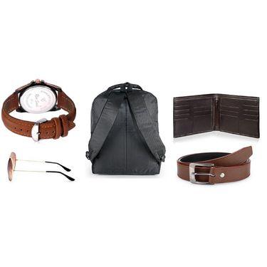 Combo of Rico Sordi Watch + 1 Sunglass + 1 Belt + 1 Wallet + 1 Laptop Bag_Srw9