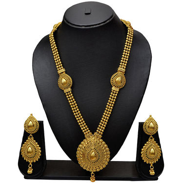 Pourni Antique Design & Gorgeous Golden Finishing Long Necklace With Stunning Earring_Prnk15