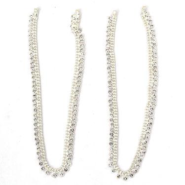 Pourni CZ Studded Silver Plated Payal Anklet _Prpayal01