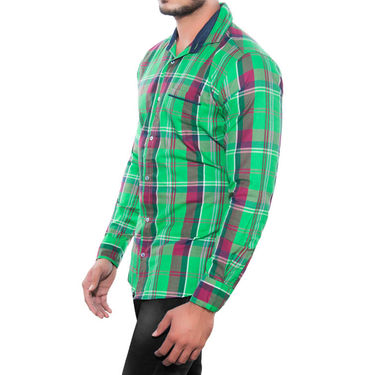 Brohood Slim Fit Full Sleeve Cotton Shirt For Men_A5029 - Green