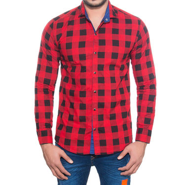 Brohood Slim Fit Full Sleeve Cotton Shirt For Men_A5070 - Red