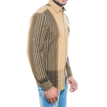 Brohood Slim Fit Full Sleeve Cotton Shirt For Men_C7002 - Beige