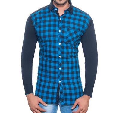 Brohood Slim Fit Full Sleeve Cotton Shirt For Men_M3008 - Blue
