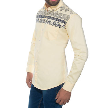 Brohood Slim Fit Full Sleeve Cotton Shirt For Men_A50139 - Cream