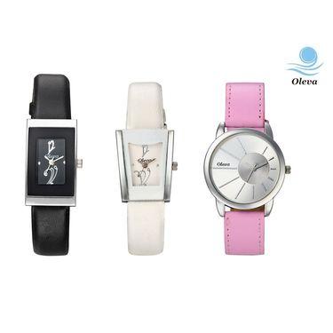 Combo of 3 Oleva Analog Wrist Watches For Women_Ovd170