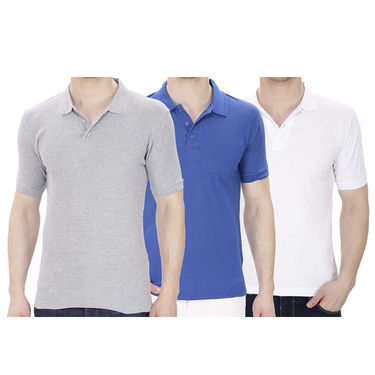 Pack of 3 Oh Fish Plain Polo Neck Tshirts_P3grywhtblu