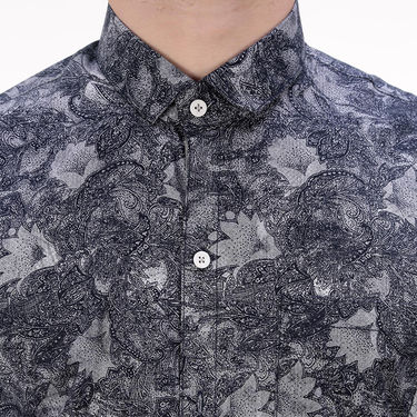 Printed Cotton Shirt_Gkdigin - Black & Grey