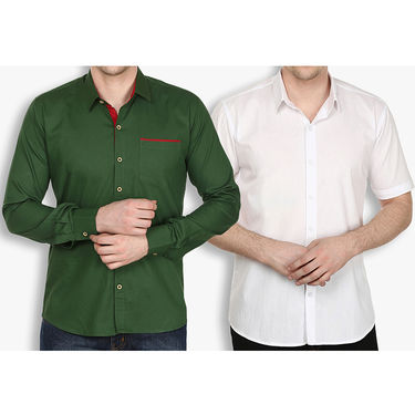 Pack of 2 Stylox Cotton Shirts_2530 - Olive Green & White