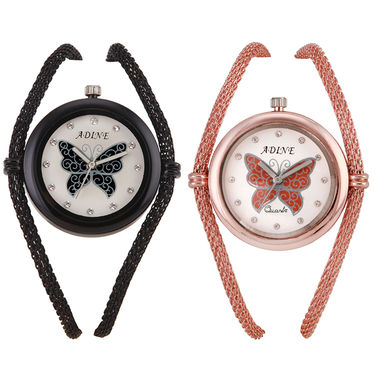 Pack of 2 Adine Round Dial Analog Watches For Women_Ad100708