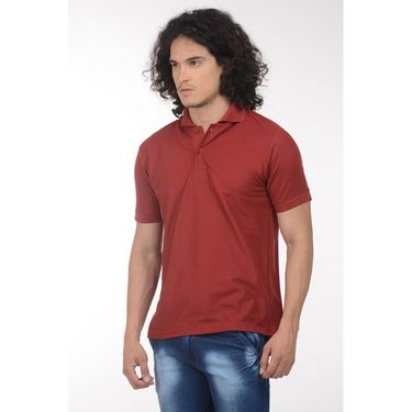 Plain Comfort Fit Blended Cotton TShirt_Ptgdm - Maroon