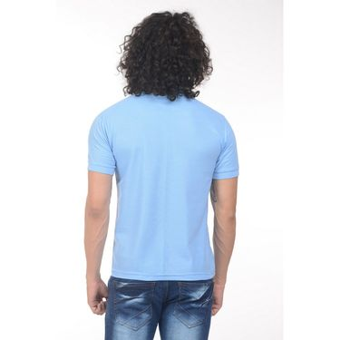 Plain Comfort Fit Blended Cotton TShirt_Ptgdsb - Sky Blue