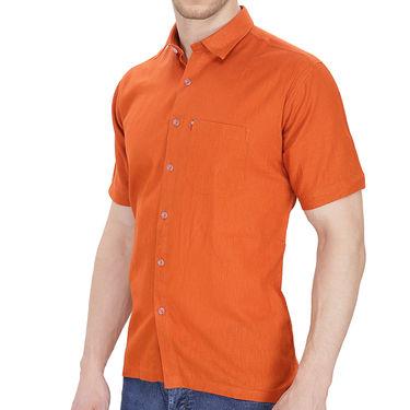 Fizzaro Plain Half Sleeves Stylish Shirt For Men_Fzls101 - Orange