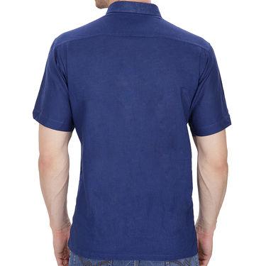 Fizzaro Plain Half Sleeves Stylish Shirt For Men_Fzls102 - Blue