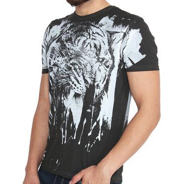 Buffalo Half Sleeves Printed Cotton Tshirt For Men_Bfwb - White-Black