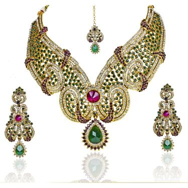 Kriaa Alloy Ethnic Necklace Set With Maang Tikka_2000109 - Multicolor