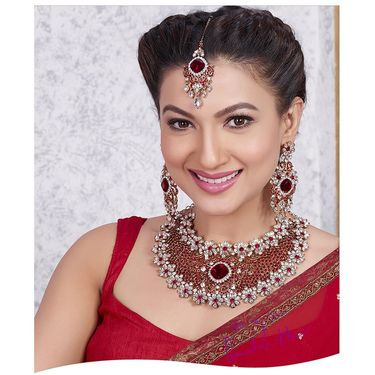 Kriaa Alloy Ethnic Necklace Set With Maang Tikka_2000319 - Maroon