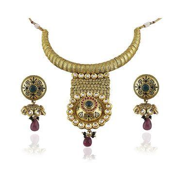 Kriaa Alloy Ethnic Necklace Set_2000311 - Green
