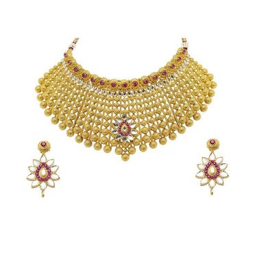 Kriaa Mithya Gold Finish Kundan Pink Drop Necklace Set_2000521