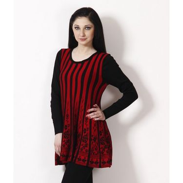 Yellow Tree Designer Woolen Black & Red Full Sleeves Tunic_Yt05