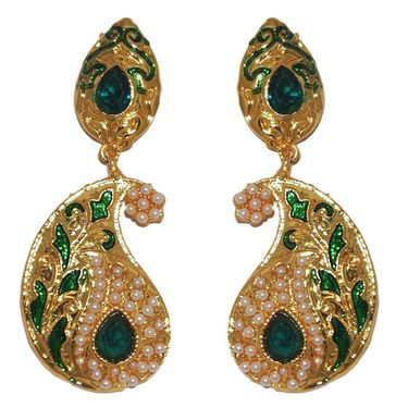 Kriaa Paisley Design Pearl Meenakari Earrings _1303118