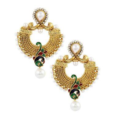 Kriaa Meenakari  Peacock Pearl Earrings _1303710