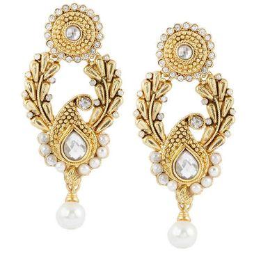 Kriaa Pearl Paisley Design Drop Earrings _1303712