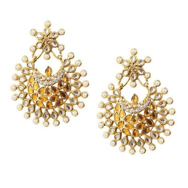 Kriaa Pearl Kundan Austrian Stone Earrings_1303756