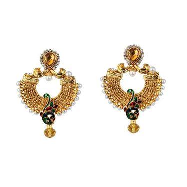 Kriaa Peacock Design Meenakari Austrian Stone Pearl Earrings _1303770