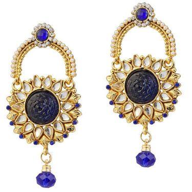 Kriaa Austrian Stone Pearl Kundan Drop Earrings _1303773