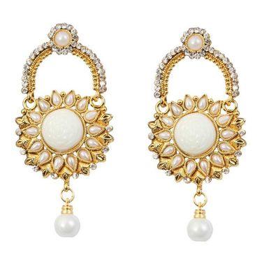 Kriaa Austrian Stone Pearl Drop Earrings _1303775