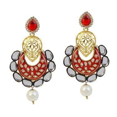 Kriaa Austrian Stone Kundan Meenakari Pearl Drop Earrings _1305940
