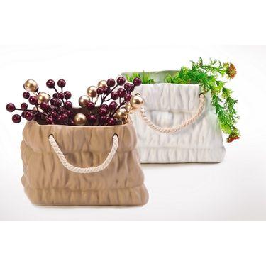 Small ceramic basket set of 2 brown/white-1307-1157