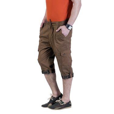 Okane Regular Fit Cotton Capri For Men_cp101 - Dark Brown