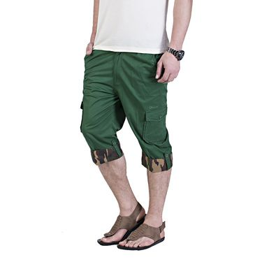 Okane Regular Fit Cotton Capri For Men_cp108 - Green