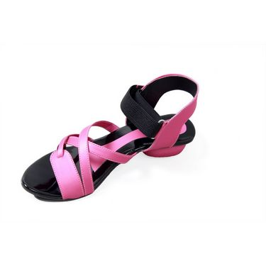 Branded Synthetic Leather Sandals 222C -Pink