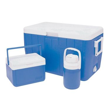 Coleman Combo Of Cooler (48 Qt) 45.4 Ltr, Cooler (5 Qt), Jug 1/3 Gallon - Blue