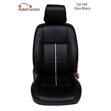 Autofurnish (CZ-103 Diva Black) Honda Brio 2013-14 Leatherite Car Seat Covers-3001527
