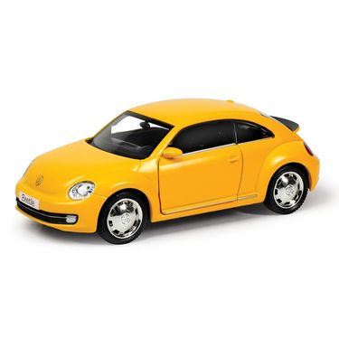 RMZ Volkswagen New Beetle Matte Yellow Pullback Diecast Toy Car