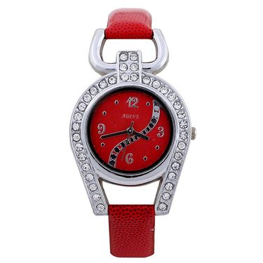 Adine Round Dial Analog Wrist Watch For Women_37rr05 - Red