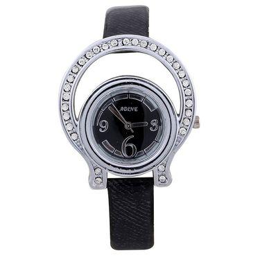 Adine Round Dial Analog Wrist Watch For Women_38bb06 - Black
