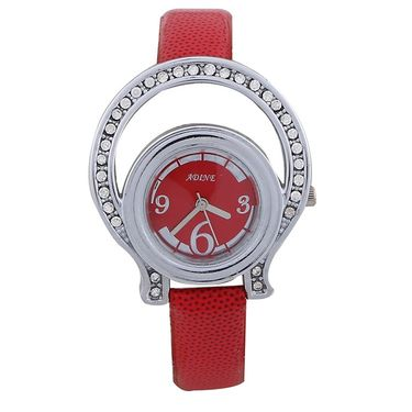 Adine Round Dial Analog Wrist Watch For Women_38rr09 - Red