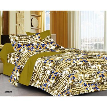 meSleep 100% Cotton green 1 Double Bed sheet 2 Pillow cover-45060-3