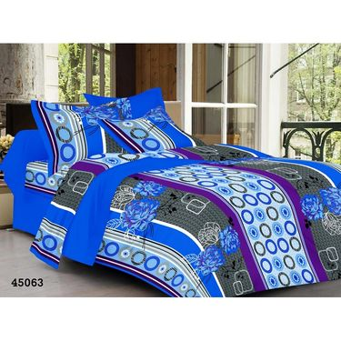 meSleep 100% Cotton Blue 1 Double Bed sheet 2 Pillow cover-45063-1