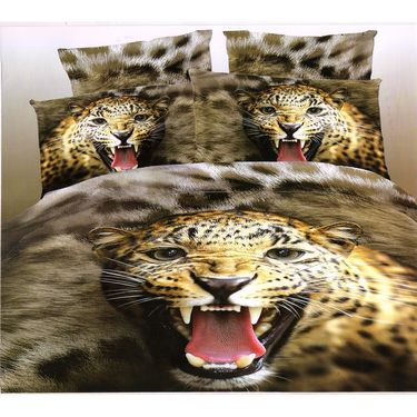 Valtellina Roaring Tiger 4D Design Double Bed Sheet With 2 pillow covers-4FG-01