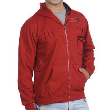 Combo of  Tan Boots + Red Sweatshirt