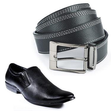 Combo of   Black Formal Shoes + Belt