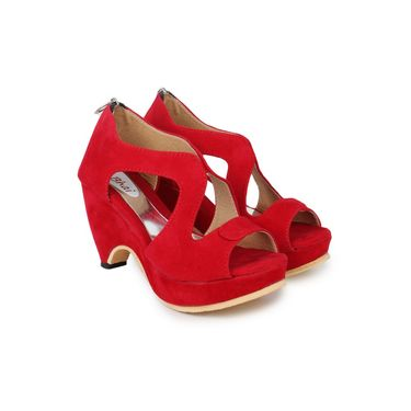 Do Bhai Suede Heels 7000-Red