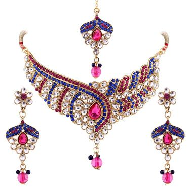 Vendee Fashion Austrain Diamond Kundan Set - Blue & Pink _ 8438